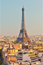 Preview iPhone wallpaper France, Paris, Eiffel Tower, city, houses, trees, road