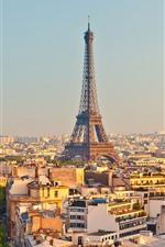 iPhone обои Франция, Париж, Эйфелева башня, город, дома, деревья, дорога