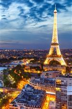 França, Paris, Torre Eiffel, Noite, Luzes, Cidade, Rio