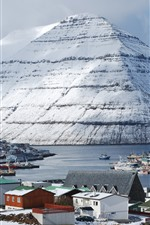 Preview iPhone wallpaper Friscia, Klaksvik, islands, mountain, snow, houses, boats, port