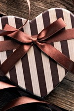 Preview iPhone wallpaper Gift, love heart, brown ribbon