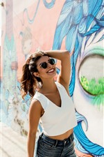 Preview iPhone wallpaper Happy girl, sunglasses, summer