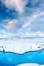 Preview iPhone wallpaper Iceland, snow, blue water, sky, white clouds