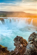 Preview iPhone wallpaper Iceland, waterfalls, rocks, sunrise, dawn