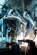 Industrial robot, machine, precision, sparks, welder
