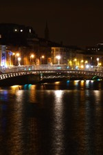Preview iPhone wallpaper Ireland, Dublin, promenade, river, bridge, night, lights