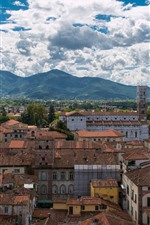 Preview iPhone wallpaper Italy, Tuscany, city, houses, mountains, sky, clouds