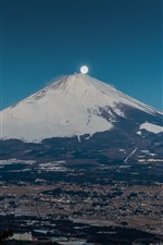 iPhone обои Япония, Гора Фудзи, Луна, Вулкан, Город