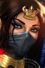 Preview iPhone wallpaper Mortal Kombat, girl, mask, art picture