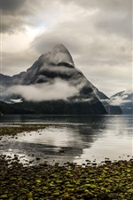 Preview iPhone wallpaper New Zealand, mountains, fjord, lake, fog, clouds, morning