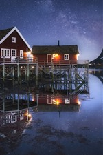 Preview iPhone wallpaper Norway, Nordland, fjord, night, houses, stars, mountain, sea, snow