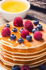 Preview iPhone wallpaper Pancakes, honey, blueberry, raspberry