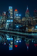 Preview iPhone wallpaper Philadelphia, night, lights, skyscrapers, river, USA