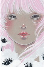 Preview iPhone wallpaper Pink hair girl, white flowers, art painting