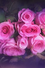 iPhone壁紙のプレビュー ピンクのバラ、ブーケ、テクスチャ