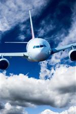 Vorschau des iPhone Hintergrundbilder Flugzeugflug, Flugzeug, Himmel, Wolken