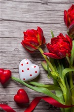 Preview iPhone wallpaper Red love heart and tulips, ribbon, romantic