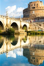 Preview iPhone wallpaper Rome, Italy, fortress, water reflection, bridge, river