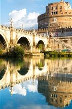 iPhone обои Рим, Италия, крепость, отражение воды, мост, река