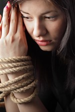 Preview iPhone wallpaper Sadness girl, hands, rope