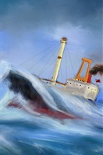 Preview iPhone wallpaper Sea, boat, sea waves, storm, oil painting