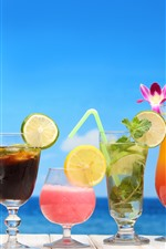 Preview iPhone wallpaper Six cups of cocktail, drinks, lemon, orange, flowers, colorful