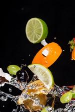 Preview iPhone wallpaper Some fruit slice, orange, lemon, water splash, black background