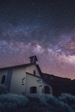 Preview iPhone wallpaper Stars, church, house, grass, night, space