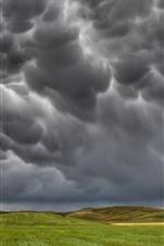 iPhone обои Шторм, черные облака, поля, сельская местность