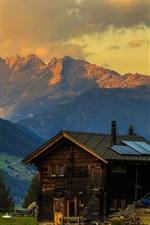 Preview iPhone wallpaper Switzerland, Alps, house, slope, trees, mountains, dusk