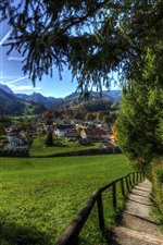Preview iPhone wallpaper Switzerland, village, greens, fields, trees, houses