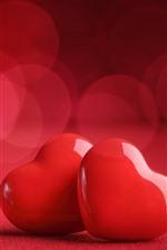 iPhone обои Две красные сердца любви, романтические, туманные