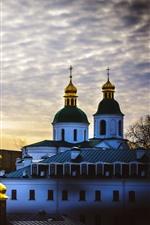 Ukraine, church, houses, clouds, sky, dusk
