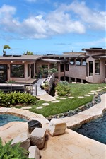 Preview iPhone wallpaper Villa, pool, house, sea, sky, clouds, tropical