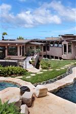 Villa, Piscina, Casa, Mar, Céu, Nuvens, Tropical