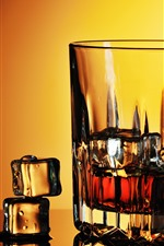 Preview iPhone wallpaper Whiskey, glass cup, ice cubes