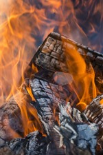 Preview iPhone wallpaper Wood, fire, firewood, flam