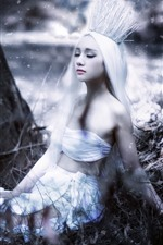 Preview iPhone wallpaper Asian girl, white hair, crown, art photography