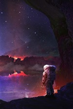 Preview iPhone wallpaper Astronaut, stars, lake, water reflection, rocks, creative picture