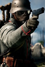 Preview iPhone wallpaper Battlefield 1, soldier, gun, gas mask