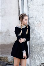Preview iPhone wallpaper Black skirt girl, braids, look