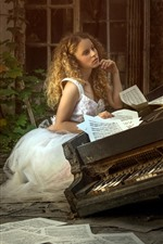 Preview iPhone wallpaper Blonde girl, piano, music