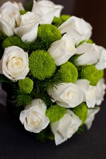 Preview iPhone wallpaper Bouquet, white rose, green flowers