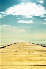 Ponte, mar, praia, céu, nuvens, tropical