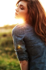 Preview iPhone wallpaper Brown hair girl, back view, sun rays, glare