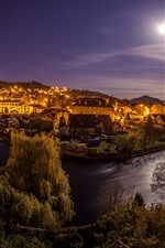Preview iPhone wallpaper Czech Republic, night, moon, river, city, houses, lights