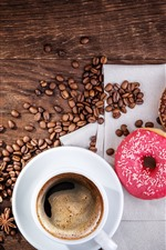 Preview iPhone wallpaper Donuts and coffee beans, cup