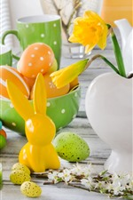Preview iPhone wallpaper Easter, candles, colorful eggs, rabbit, kettle, cups