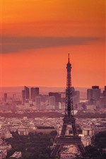 Preview iPhone wallpaper Eiffel Tower, dusk, city, sunset, red sky, Paris, France
