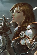 Preview iPhone wallpaper Fantasy girl, warrior, sword, armor, art picture